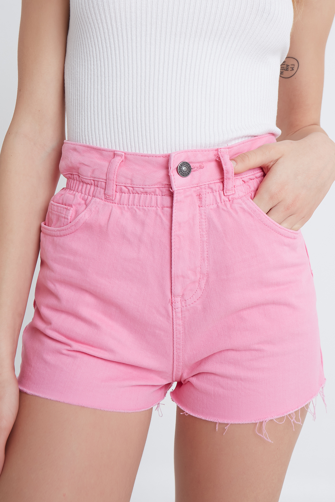 Raw hem paperbag shorts
