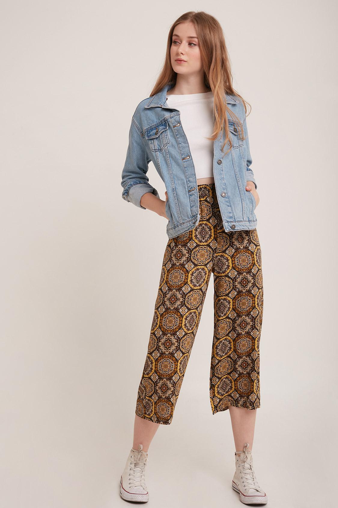 Pantaloni culotte crop