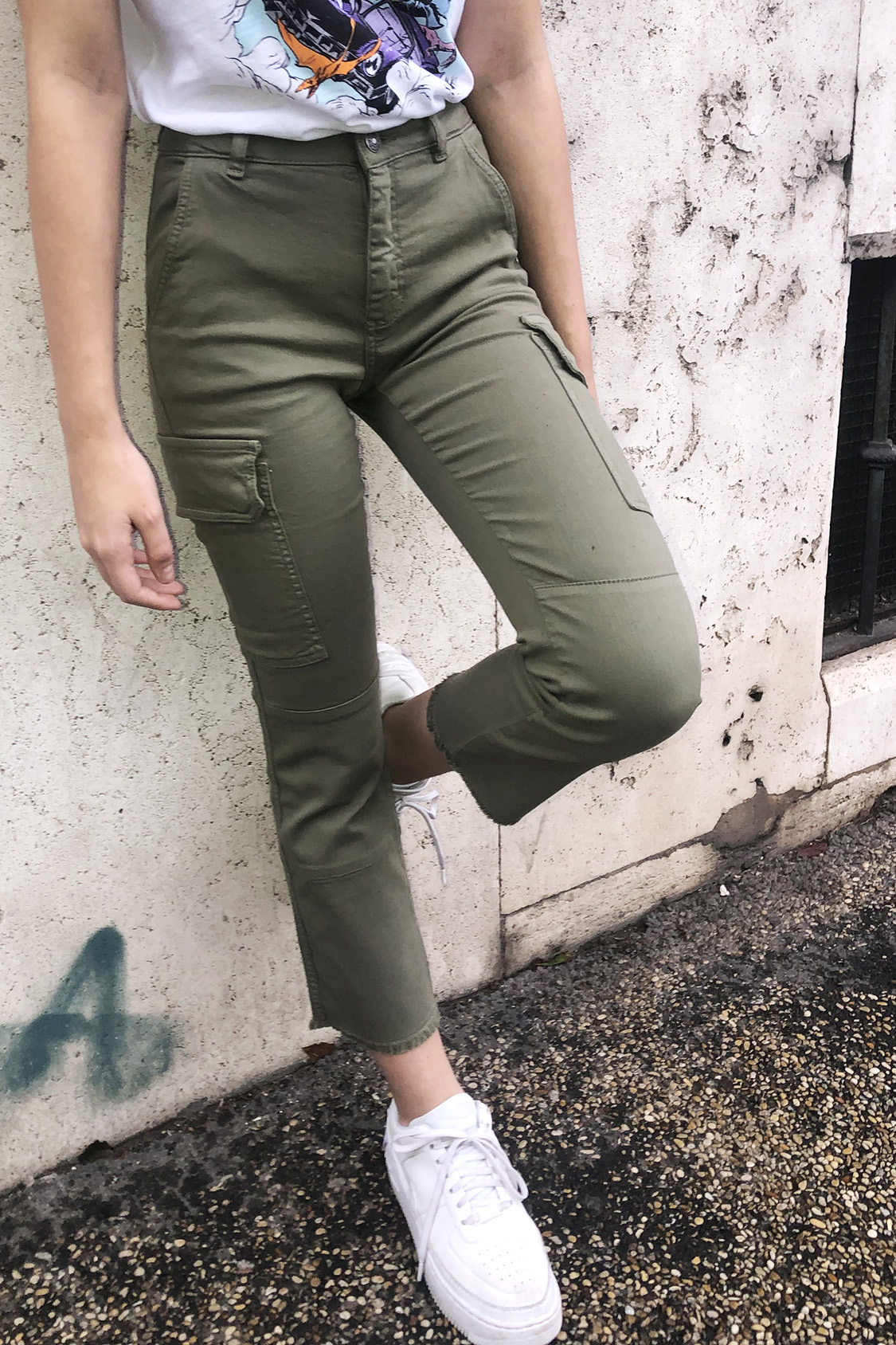 Cropped flare cargo trousers