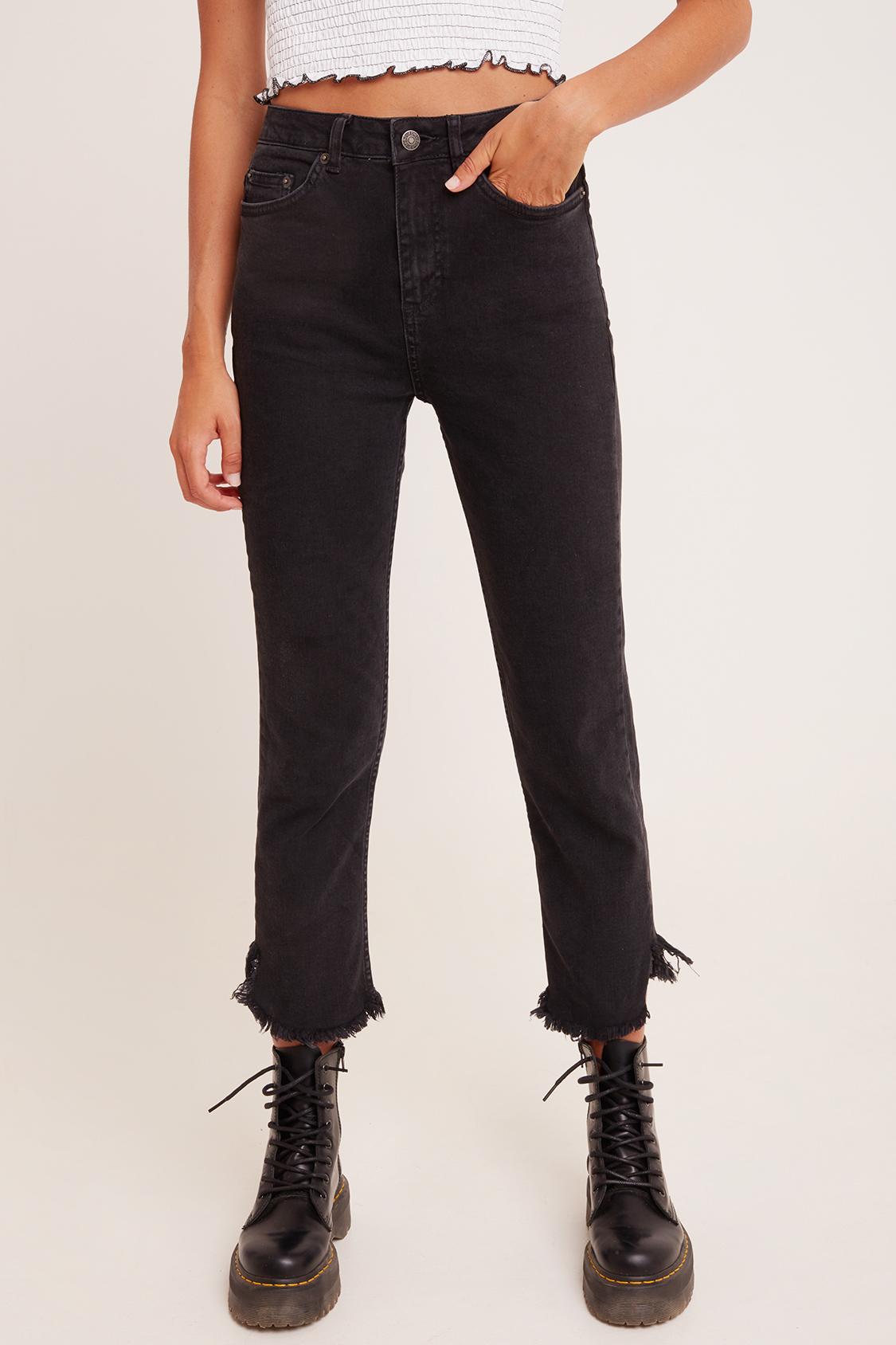 Fringed cigarette jeans