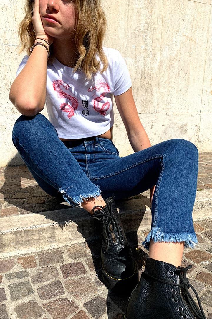 Jeans pitillo frange