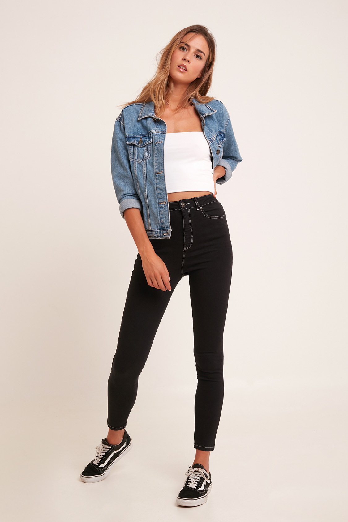 Contrast stitching skinny jeans