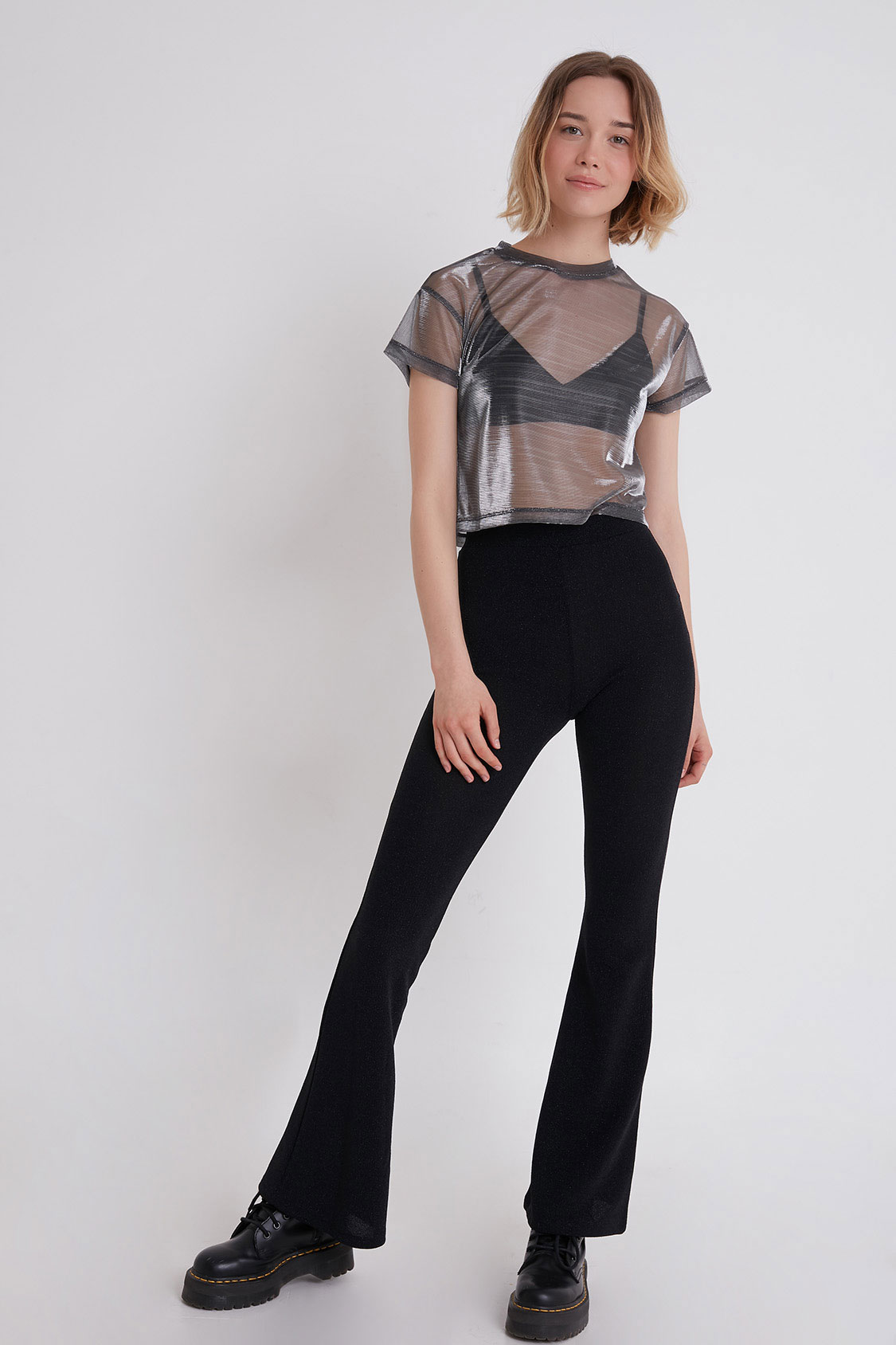 Lurex flared pants