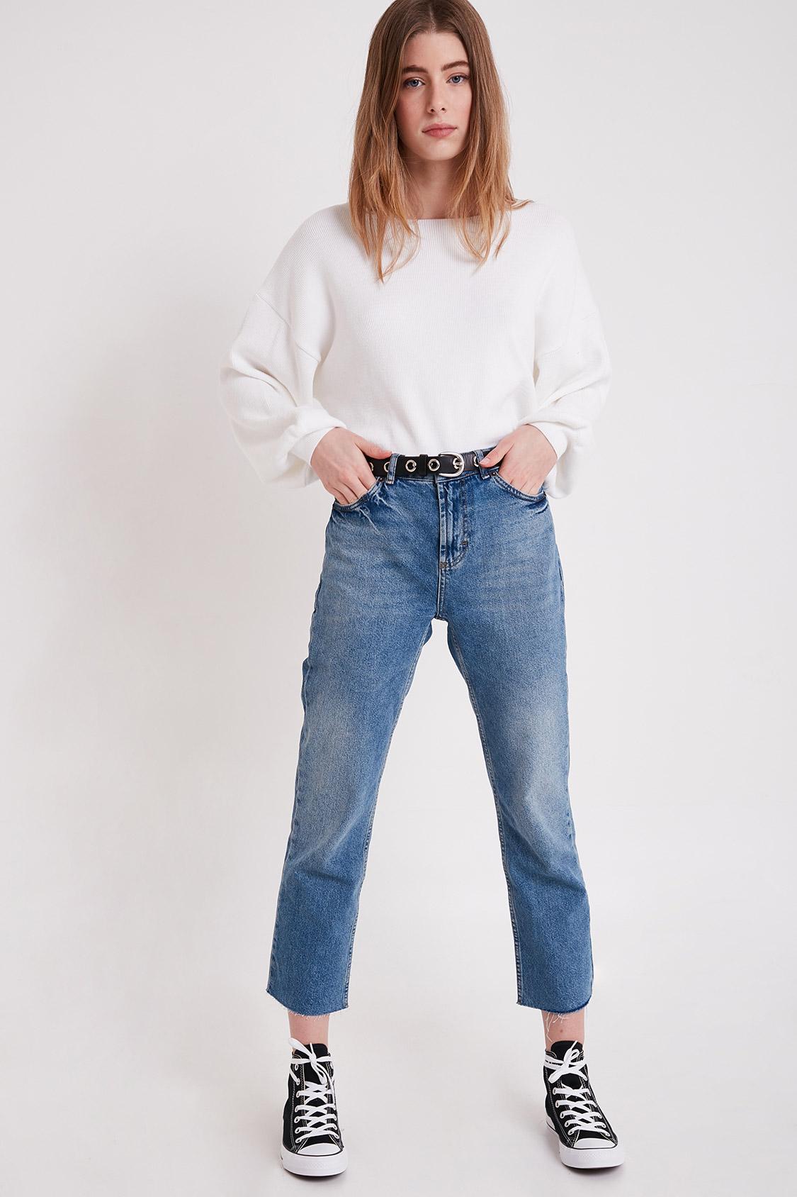 Raw hem boyfriend jeans