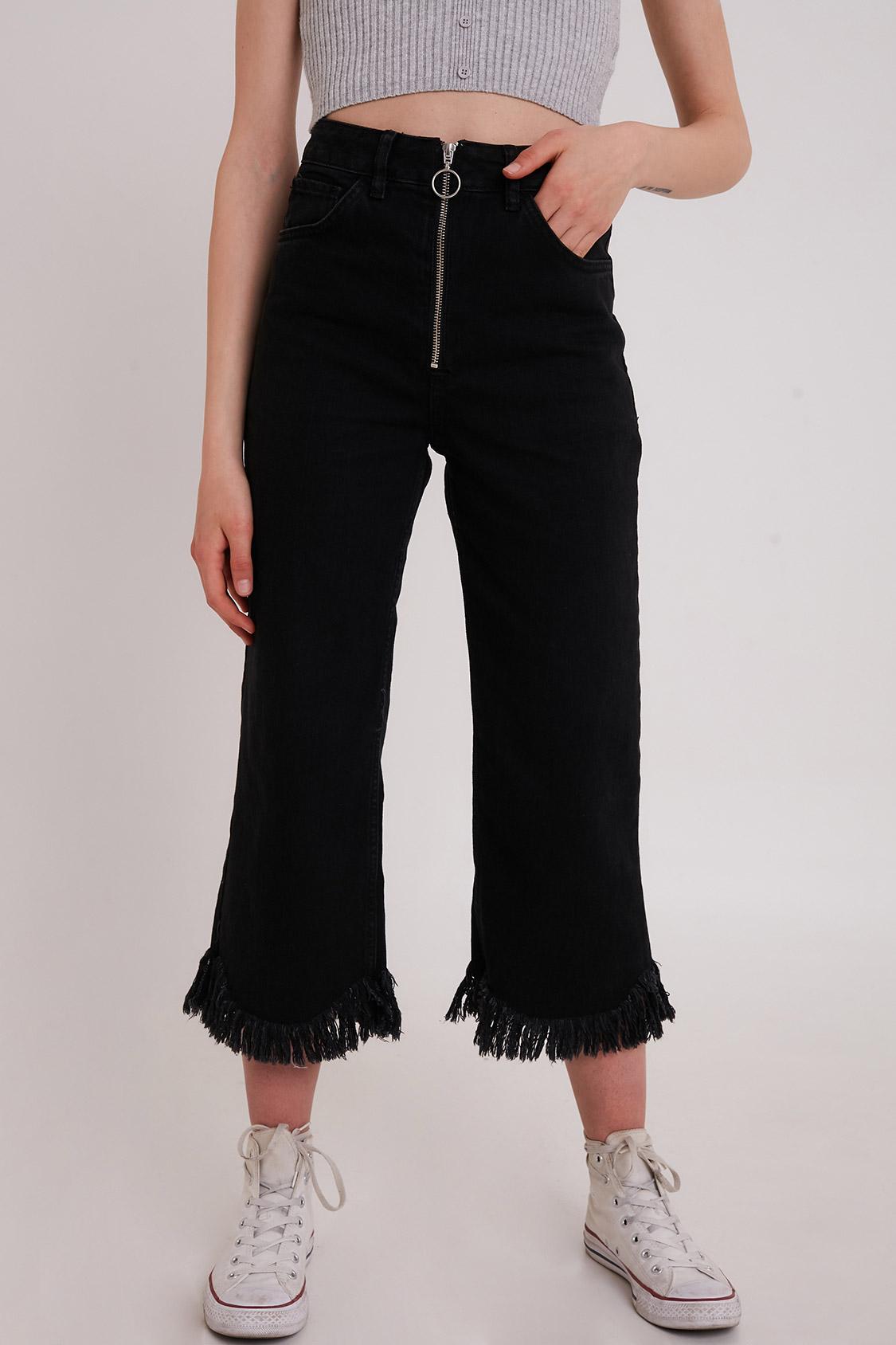 Jeans culotte frange