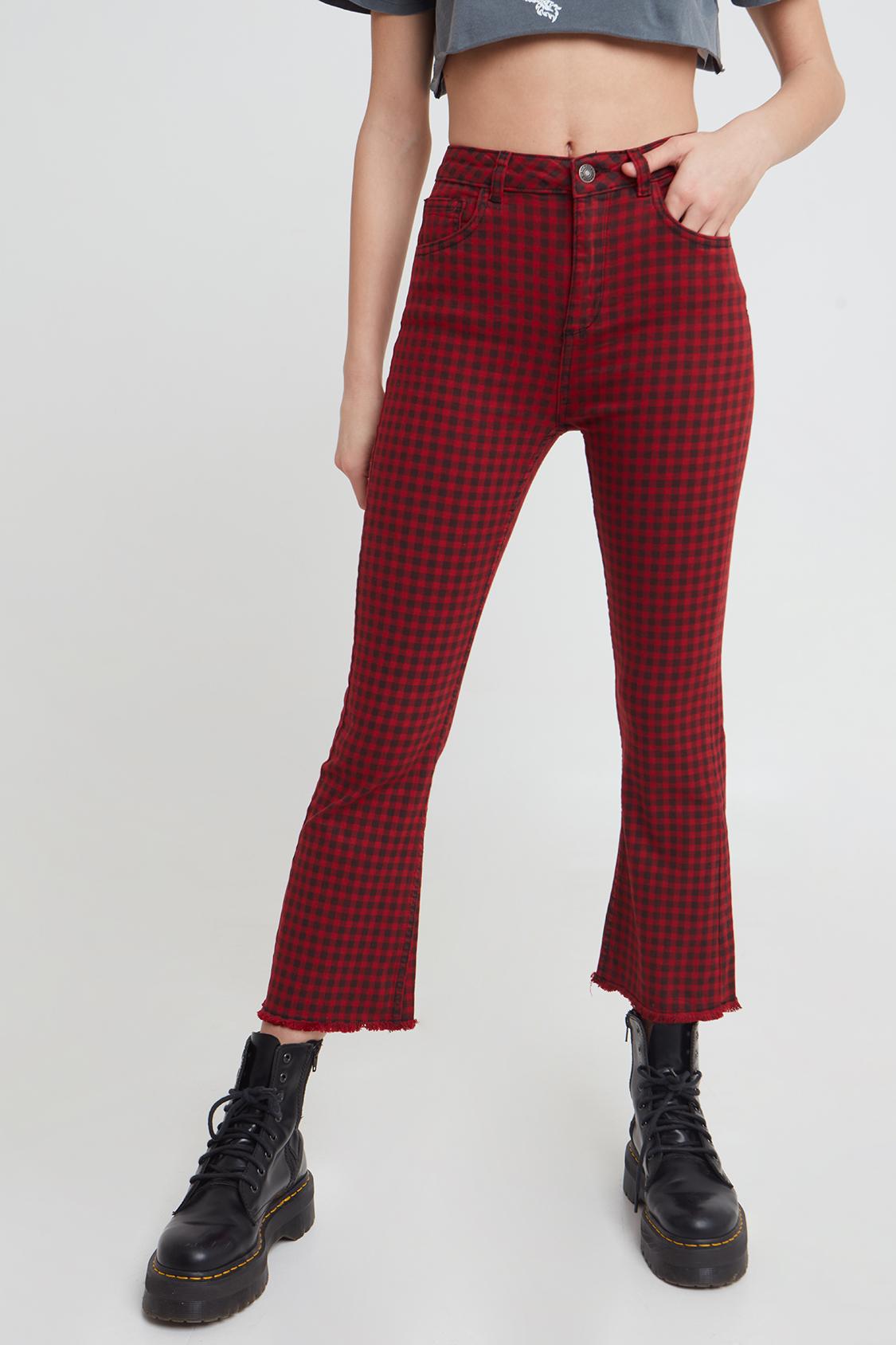Pantalones campana crop talle vivo