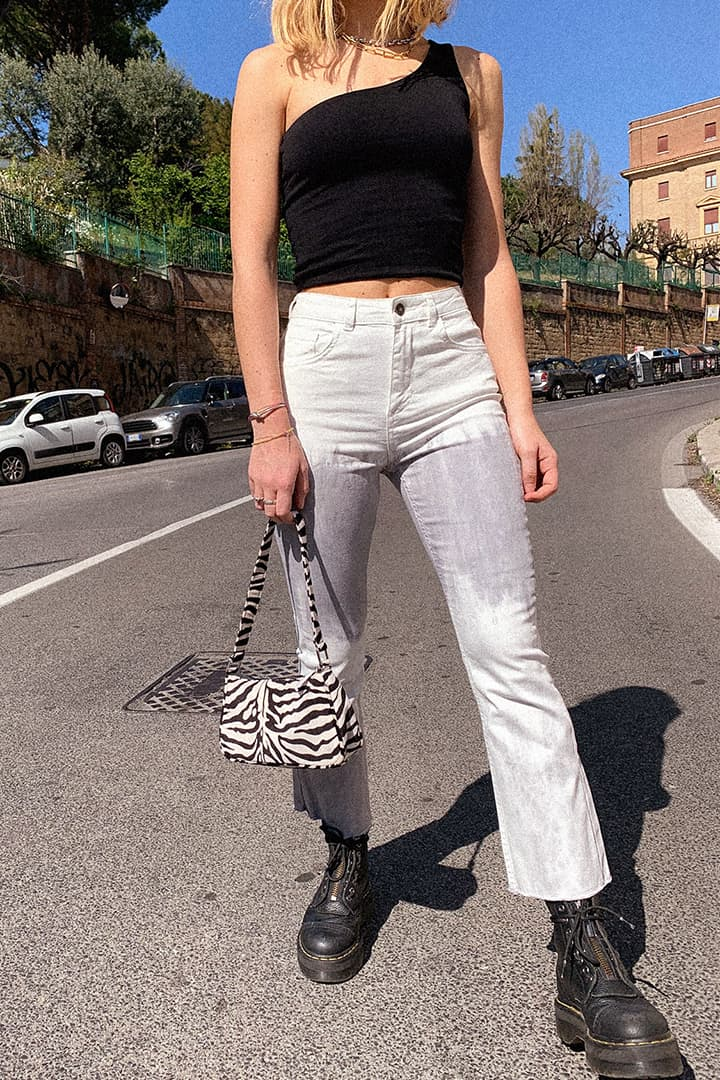 Cropped soft flare raw hem pants