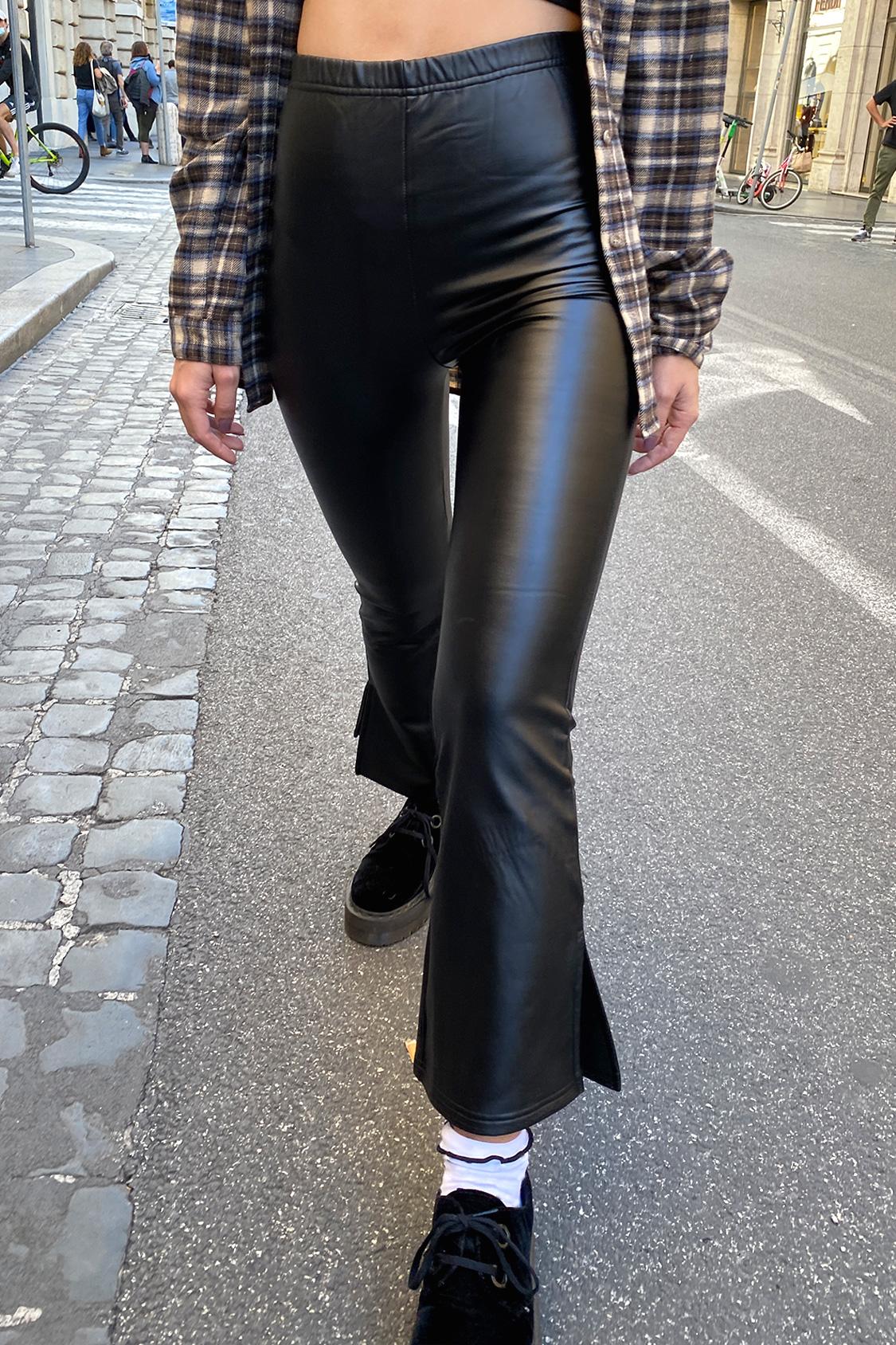 Faux leather soft flare leggings