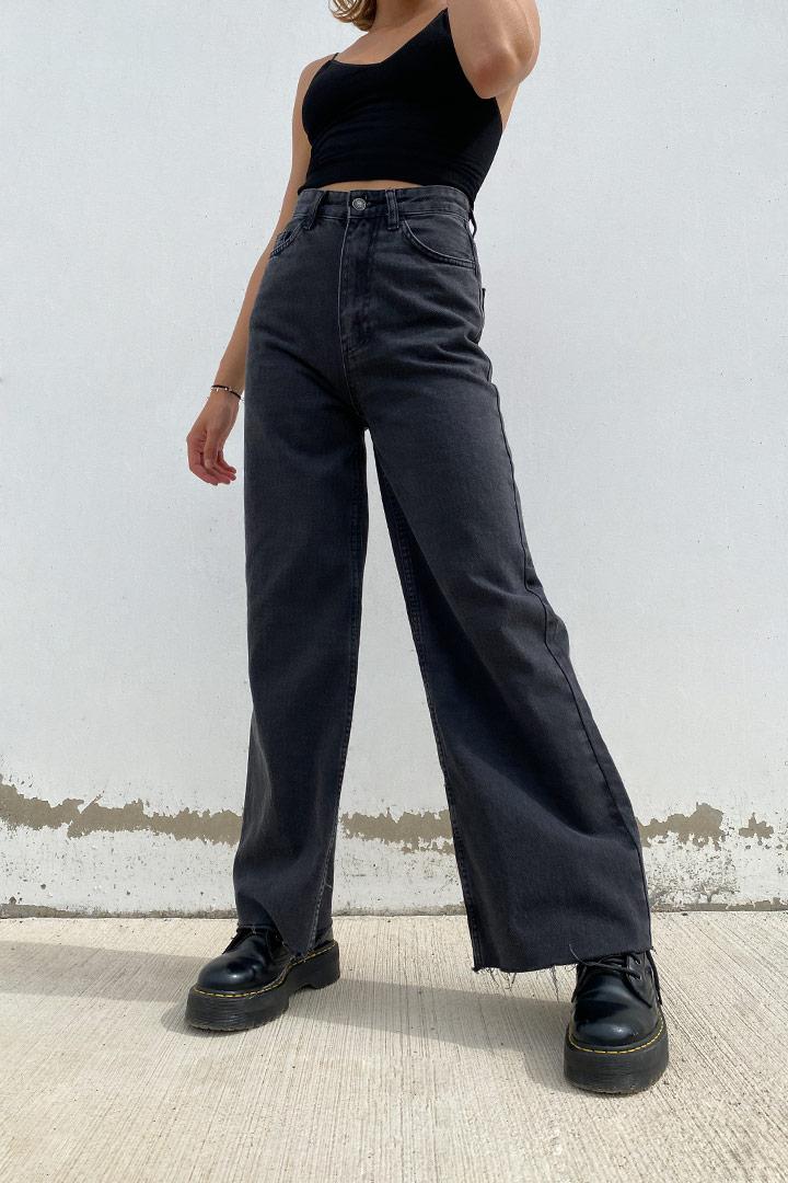 Raw hem palazzo jeans