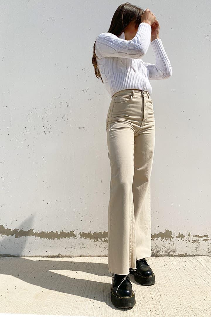 Jeans wide leg raw cut