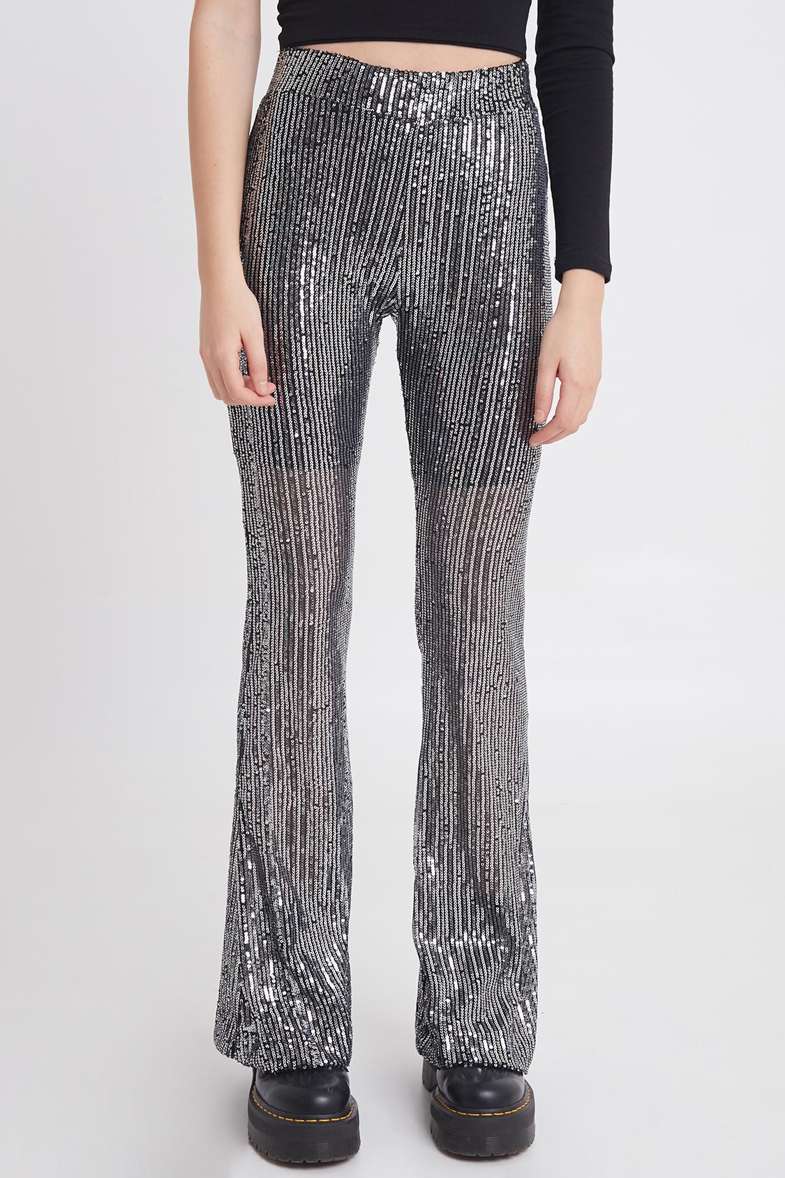 Pantaloni zampa paillettes