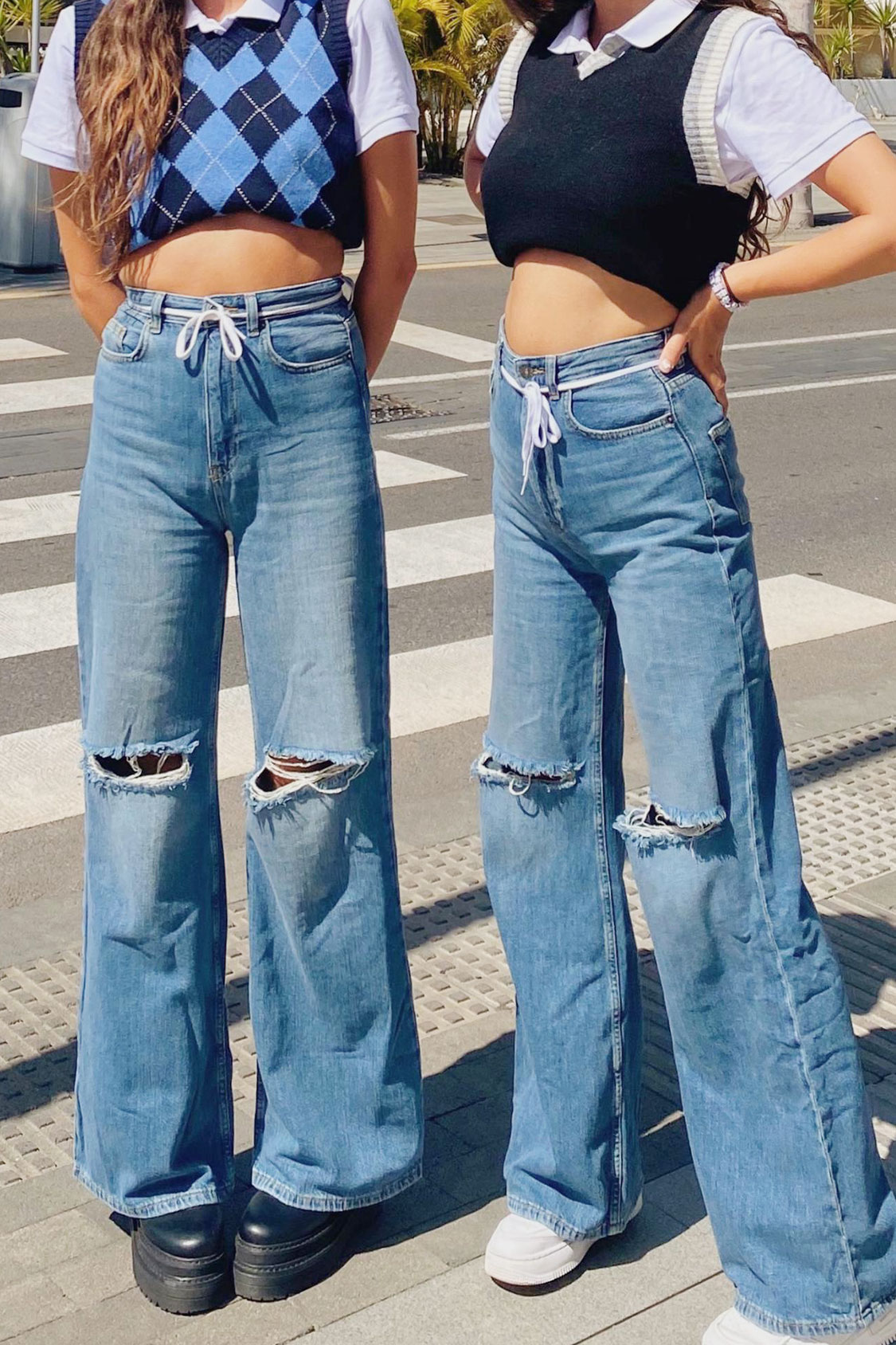 Ripped palazzo jeans