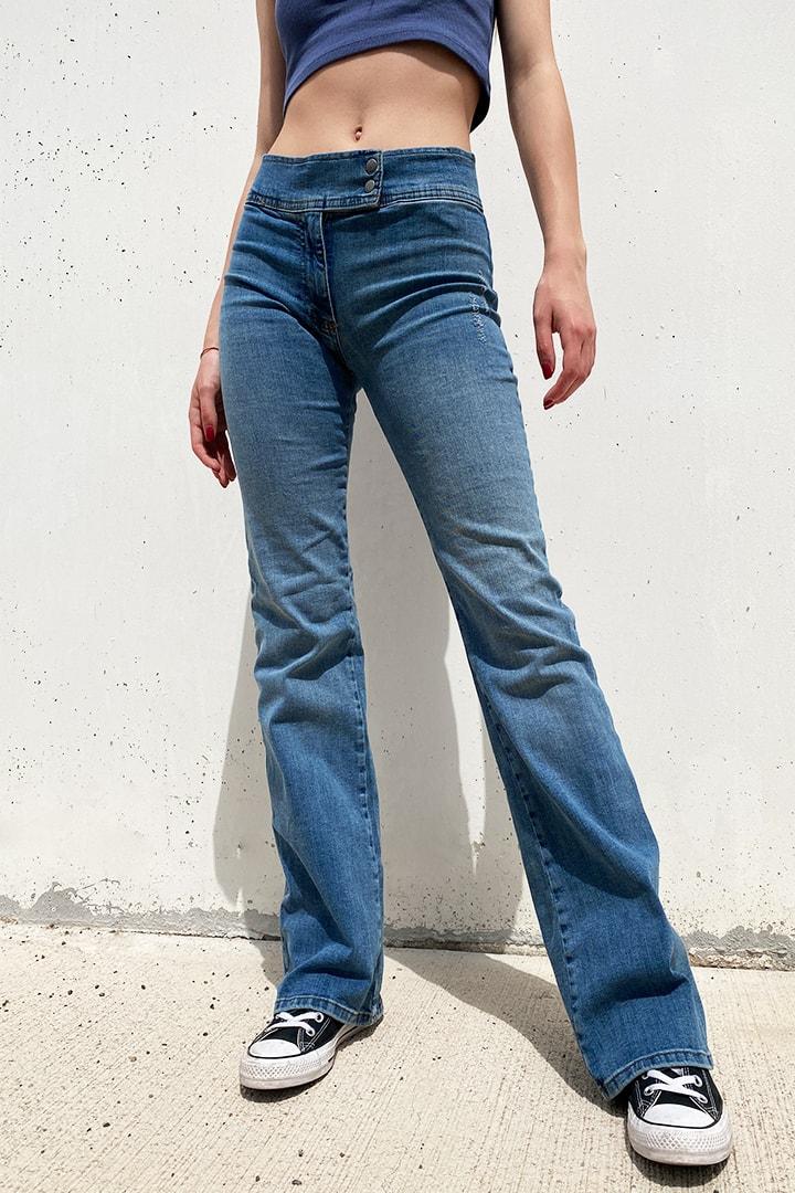 Double button low waist jeans
