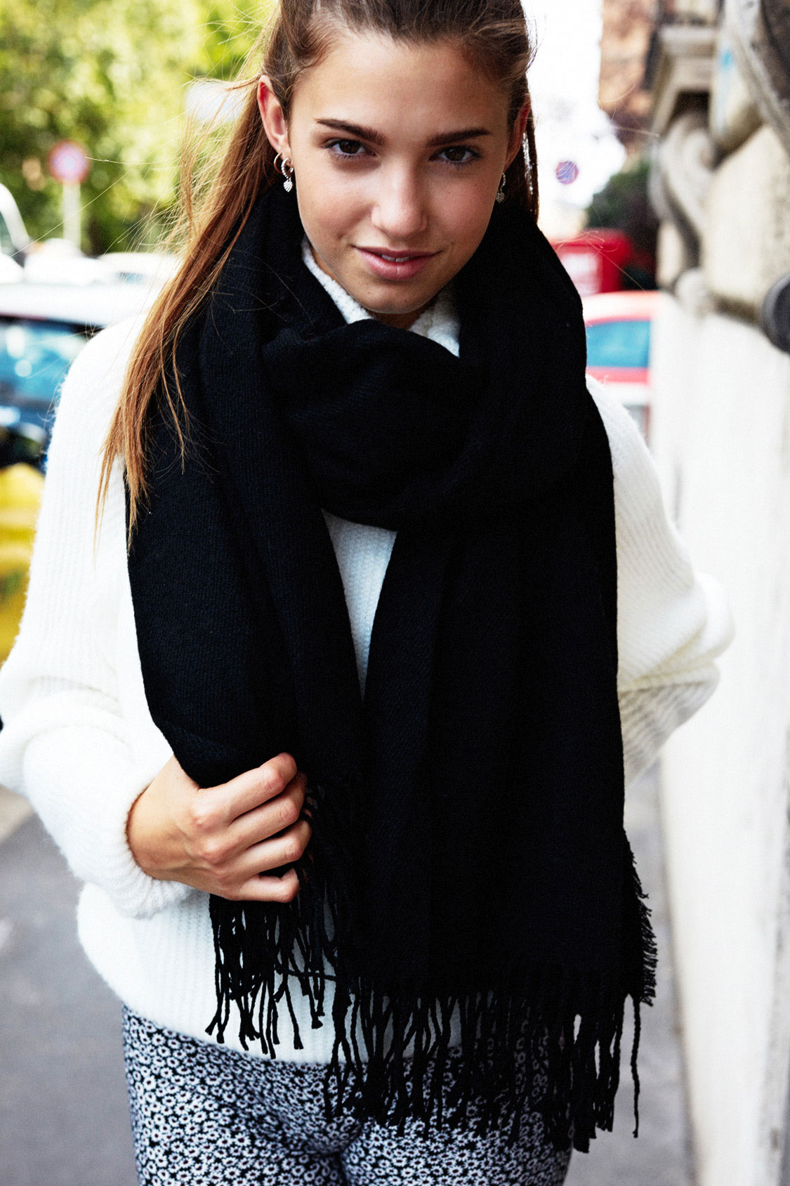 Fringed oversized scarf