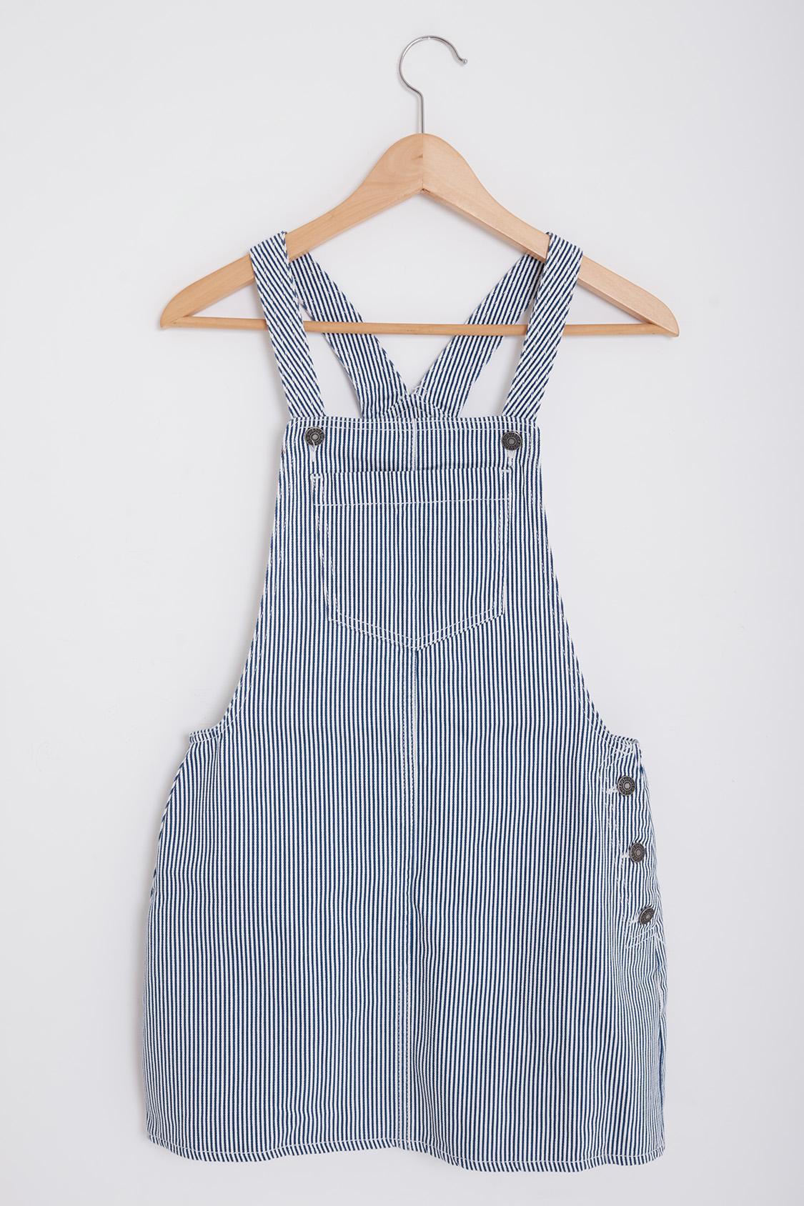 Striped dungaree dress
