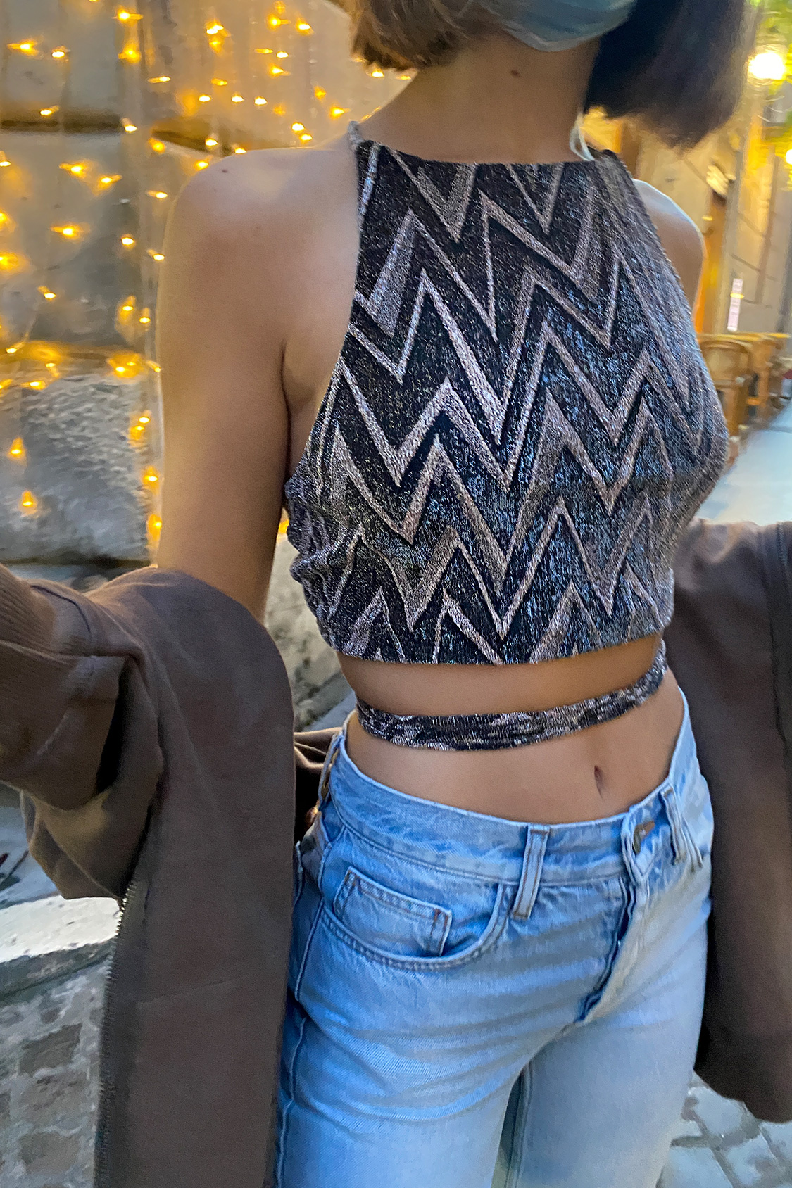 Top crop incroci dietro lurex