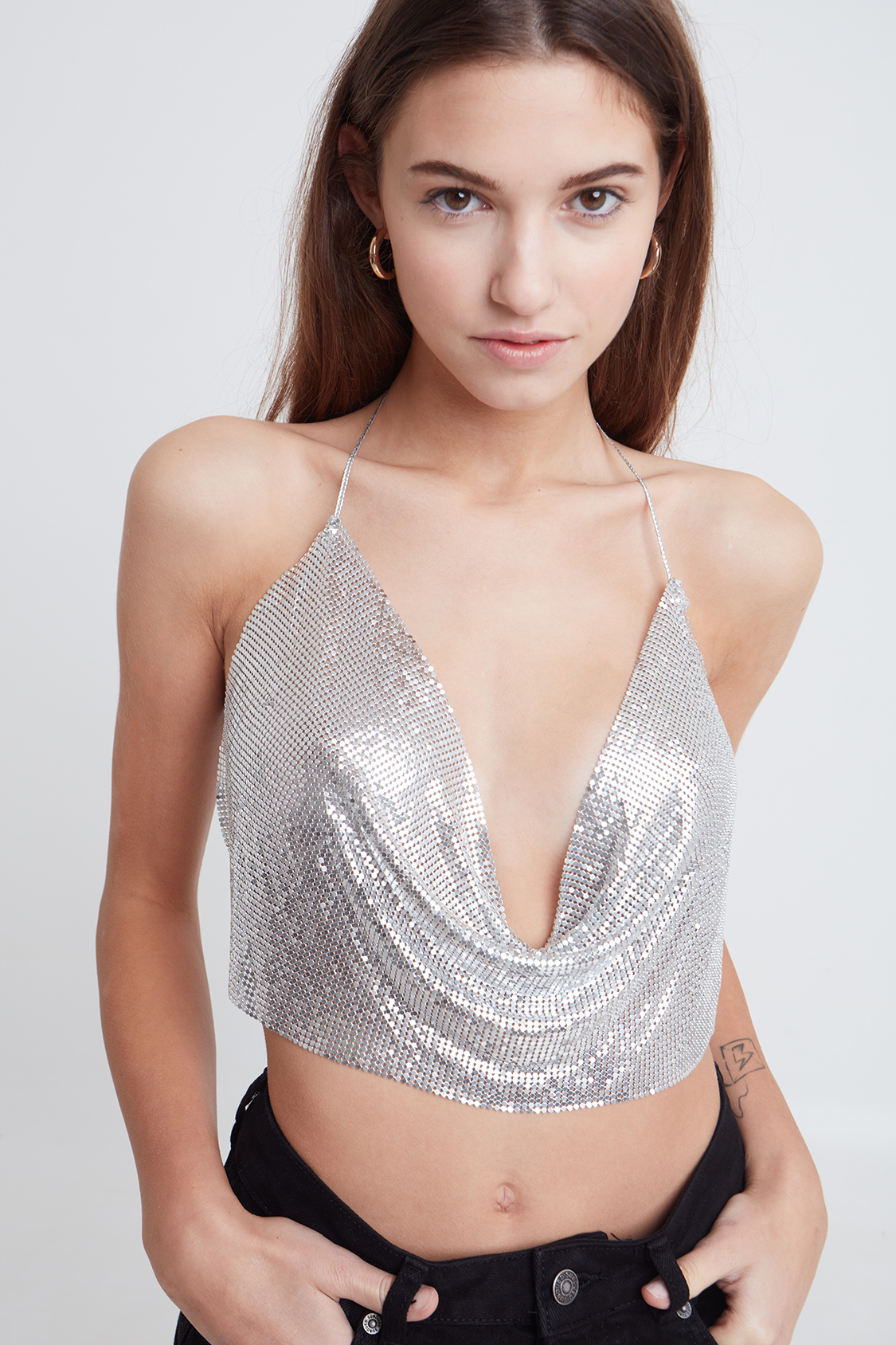 Scoop back metallic top