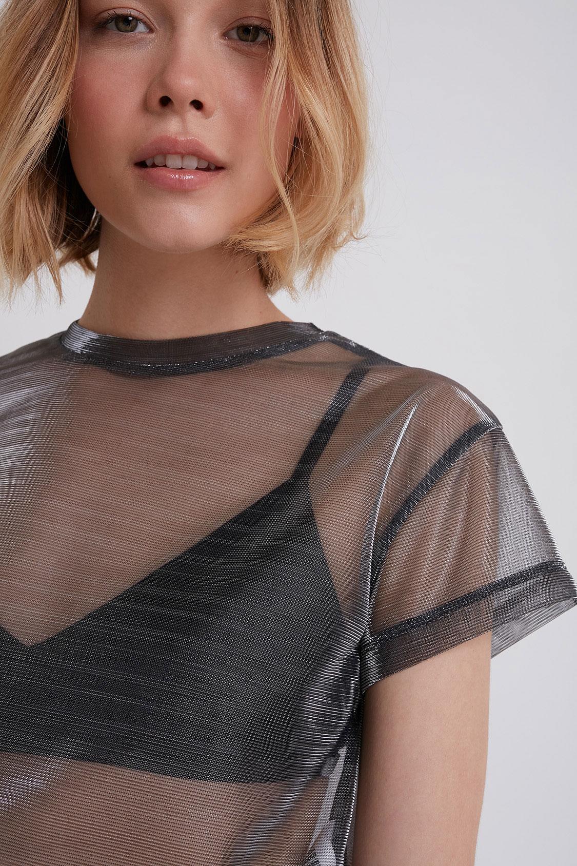 Metallic mesh t-shirt