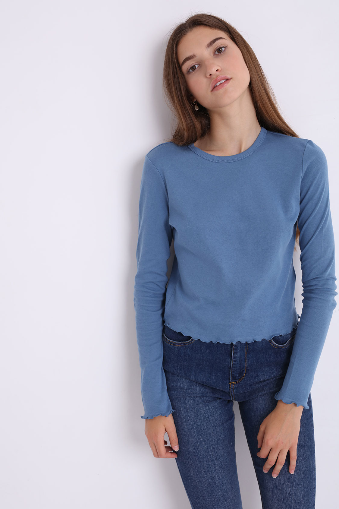 Camiseta bajo rizado