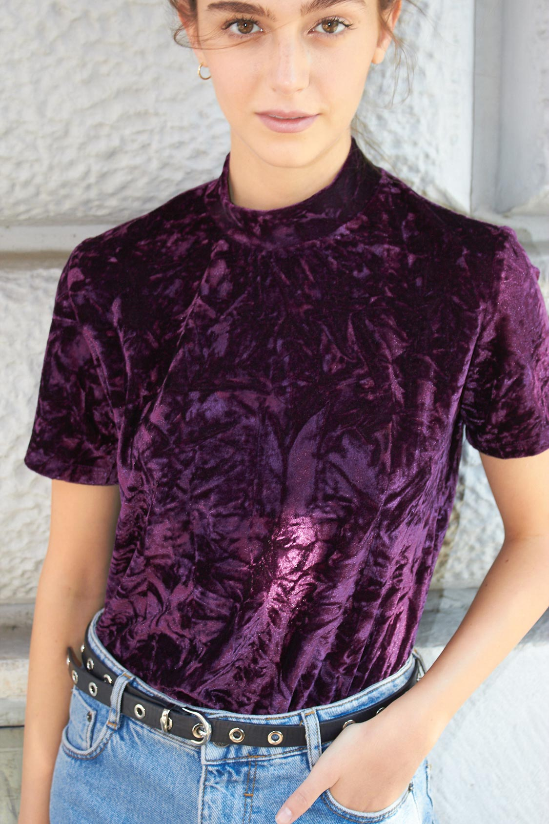 Velvet mock neck t-shirt