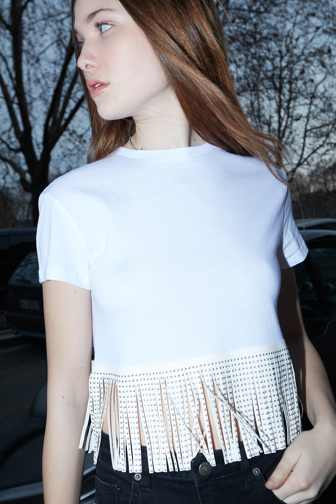 Fringed and studded t-shirt