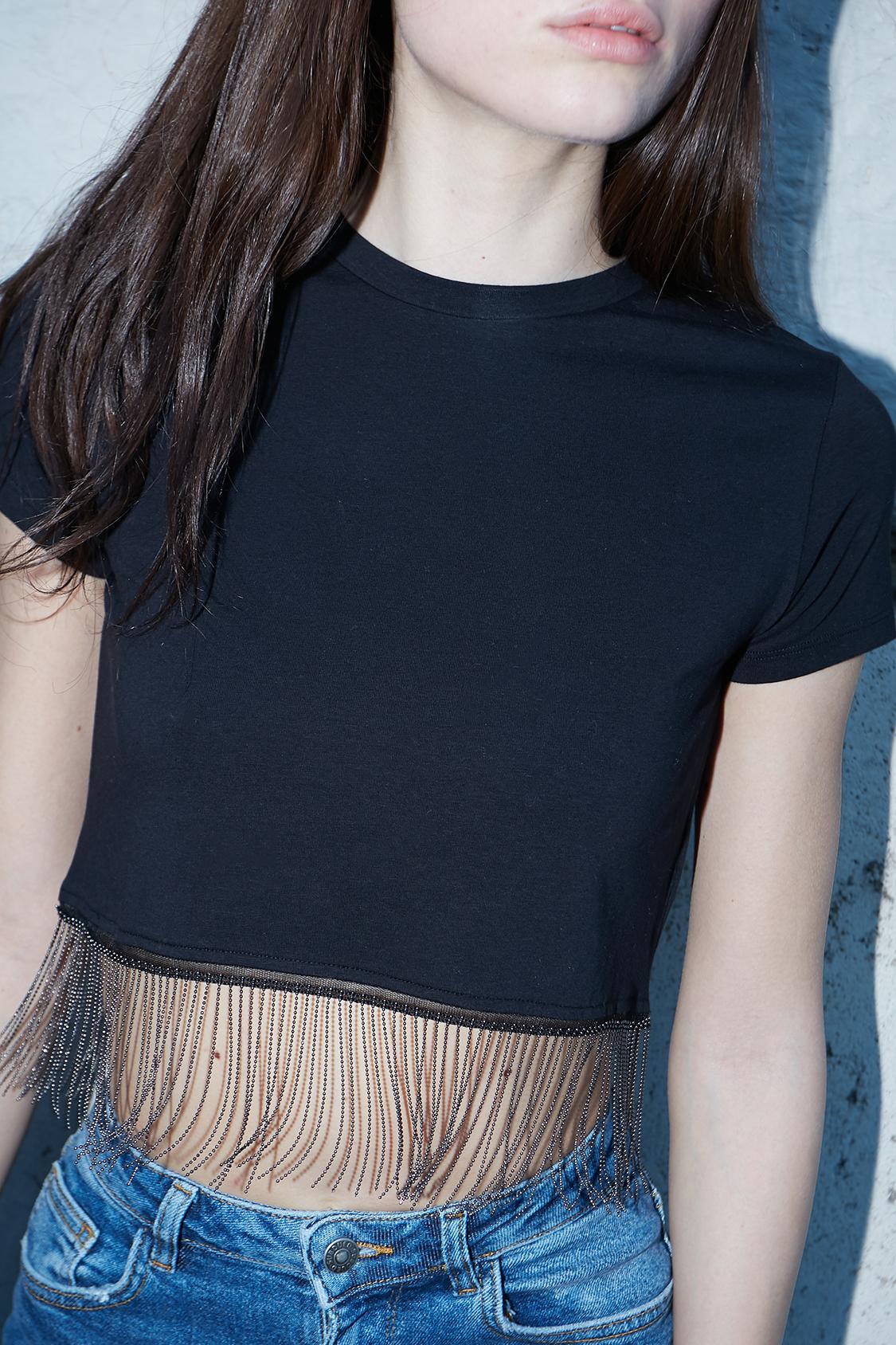 T-shirt frange perline