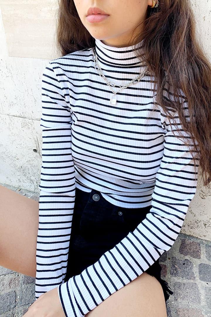 T-shirt col roulé cotelé